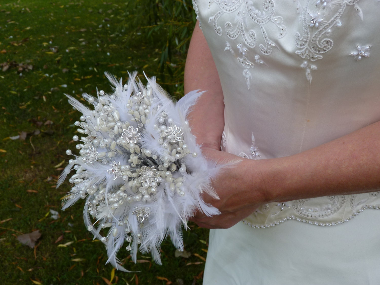 Feather Wedding Bouquet With Crystal Flowers And Pearls In Silver