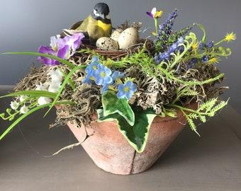 Spring arrangement,  Easter flower arrangement, natural arrangement, Easter egg arrangement, nest with bird arrangement.