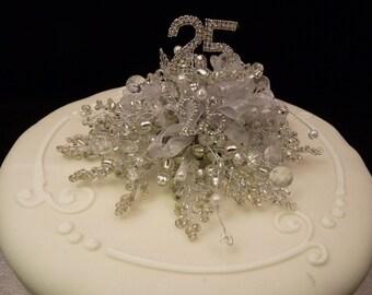 Silver wedding cake decoration, Silver wedding cake topper,  Wedding anniversary cake topper, Red cake decoration, Red and gold beaded cake