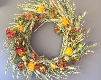 Dried flower wreath, yellow orange and green flower wall decor, yellow and orange wreath, kitchen wreath, summer wreath, house decor