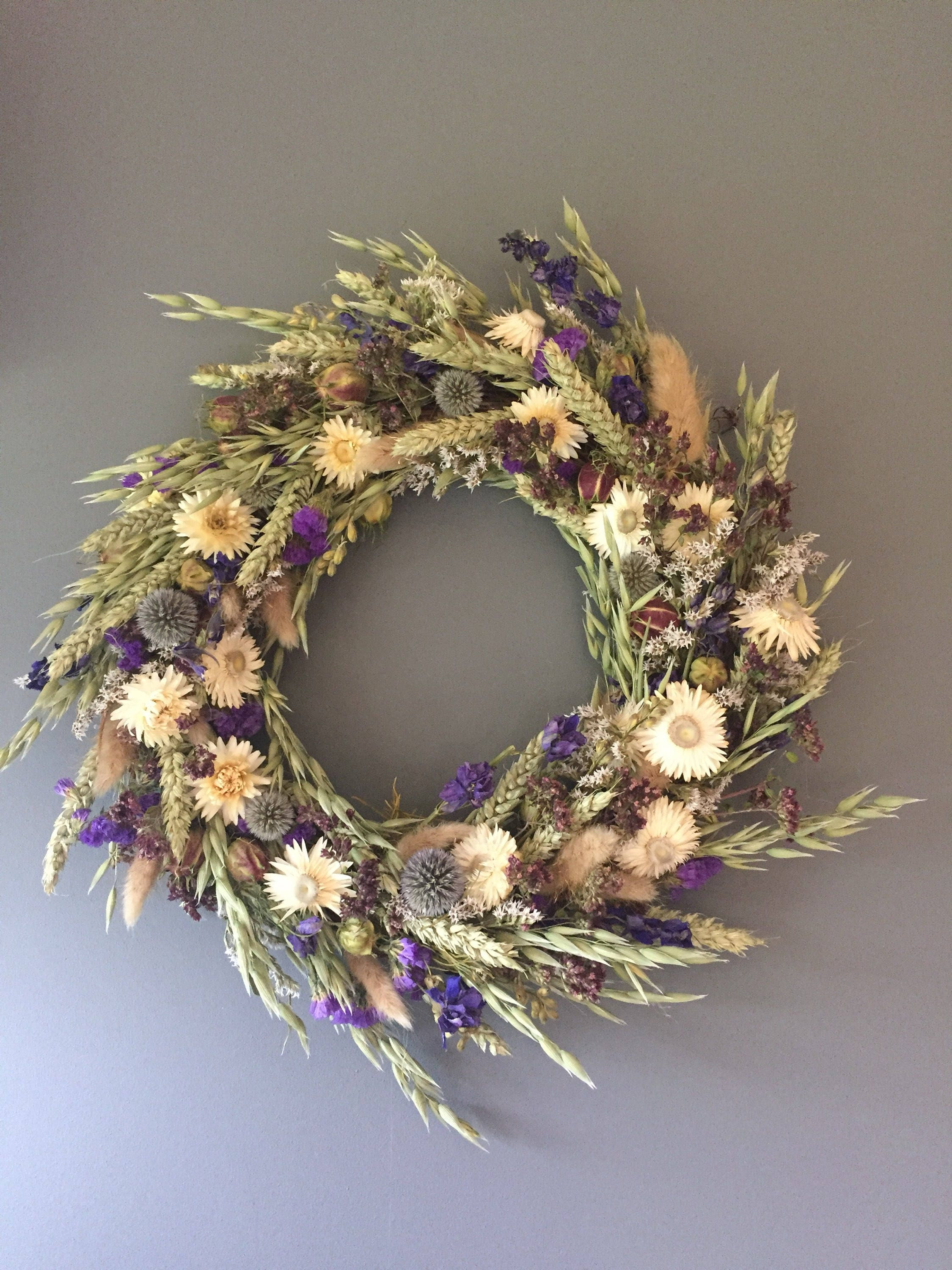 Dried Flower Wreath Blue And White Flower Wall Decor Blue And