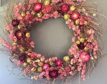 Dried flower wreath in pink, 50 cm wreath, wall decor, pink dried flowers, door wreath. House decor. Birthday gift