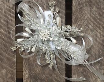 Small snowflake wrist corsage - wedding corsage - wrist corsage on a white velco band. Winter wrist corsage.