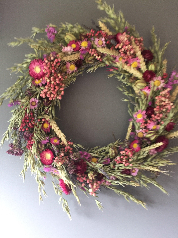 Dried Flower Wreath Pink Flower Wall Decor Pink Wreath Kitchen