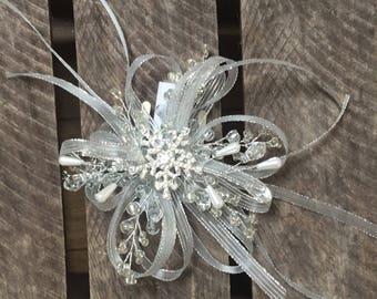Large snowflake wrist corsage - wedding corsage - wrist corsage on a white velco band. Winter wrist corsage.