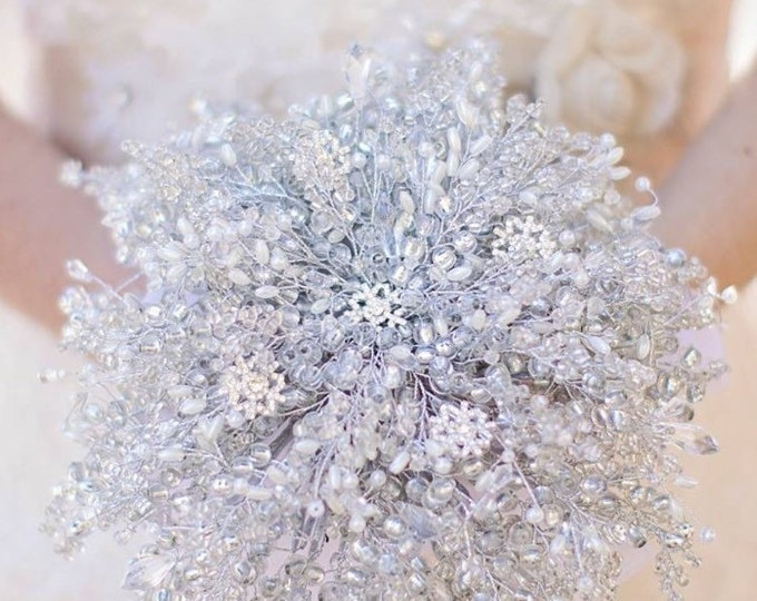 Featured listing image: IVORY SNOWFLAKE BOUQUET, Extra large Brides bouquet, winter wedding, silver bouquet, beaded bouquet, brooch bouquet, wedding bouquet,