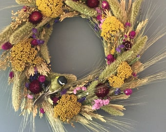 Dried summer flower wreath, multi colored flower wall decor, summer dried wreath, kitchen wreath, summer wreath, house decor