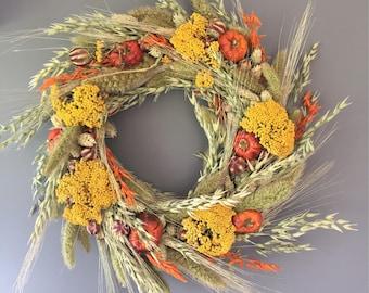 Dried flower wreath, Autumn flower wall decor, pumpkin wreath, kitchen wreath, fall wreath, Autumnal house decor