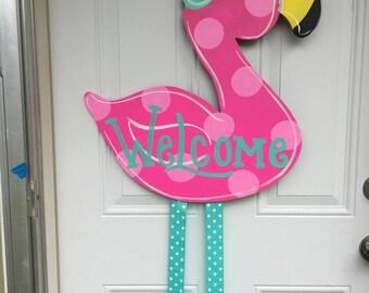 Summer door hanger,Flamingo door hanger,Spring door hanger,Birthday door hanger,summer wreath,summer porch decor,porch sign,flamingo wreath