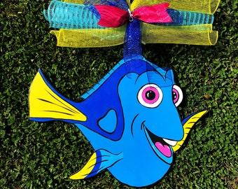 Finding Dory door hanger birthday party decorations wooden kids name sign kids door hangers Dory room decor Finding Nemo fish lake sign