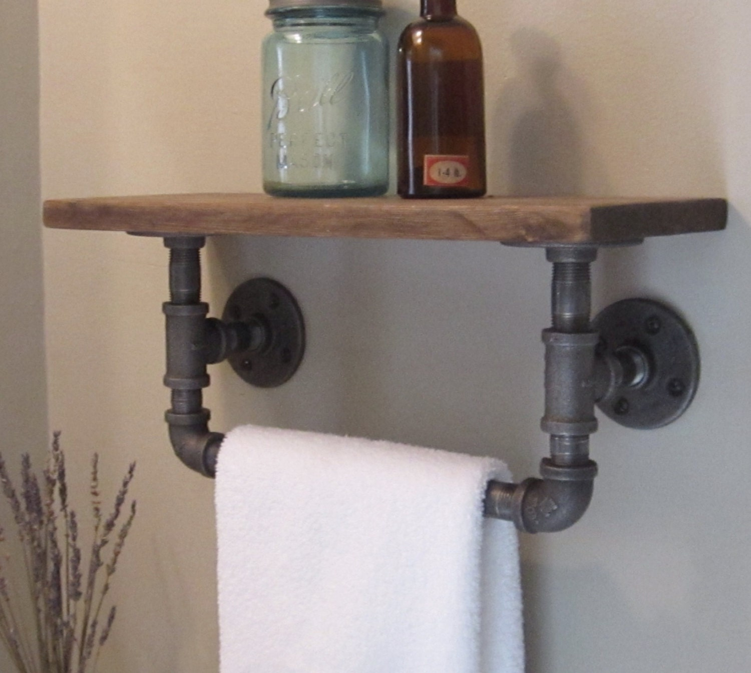 Industrial pipe hand towel rack with wood shelf.   Etsy