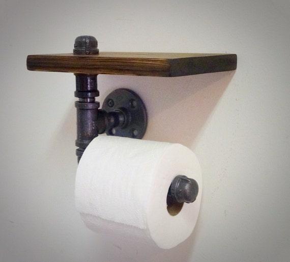 porte papier toilette tuyau industriel avec tag re. Black Bedroom Furniture Sets. Home Design Ideas