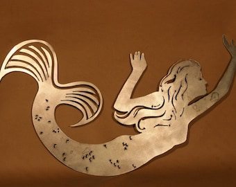 Mermaid Plasma Cut Metal Wall Art Hanging Home Decor Beach House