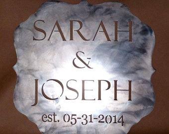 Custom Wedding Plaque Gift Sign Present Plasma Cut Metal Wall Art Home Decor