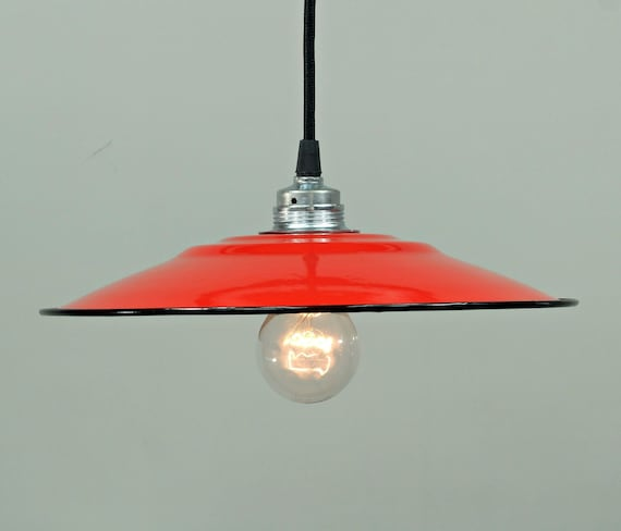 Fabriklampe 31cm rot Emaille Lampe Industrial Deckenlampe lamp shade ceiling