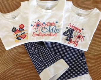 Monogrammed Girls Patriotic Shirt // Fourth of July Girls Shirt // Happy Fourth Girls Shirt
