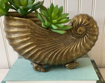 Fantastic Vintage brass footed Nautilus Shell  sculpturePlanter Art DecominimalistBeach Decor
