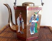 Vintage Asian Hexagon Brass Enamel Teapot, Engraved Design, Geisha, Chinese Warrior, Chinoiseri, Mid Century, Collectible