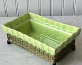 Vintage Ceramic Planter with Gold Metal Basket, Footed Planter, Tropical Green, Mid Century Planter, Cottage Decor