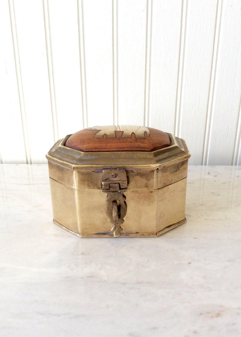 Vintage Brass Cricket Box Keepsake Box Elephant Brass Box Octagon Brass Box WoodBrass Trinket Box Jewelry Box Ring Box