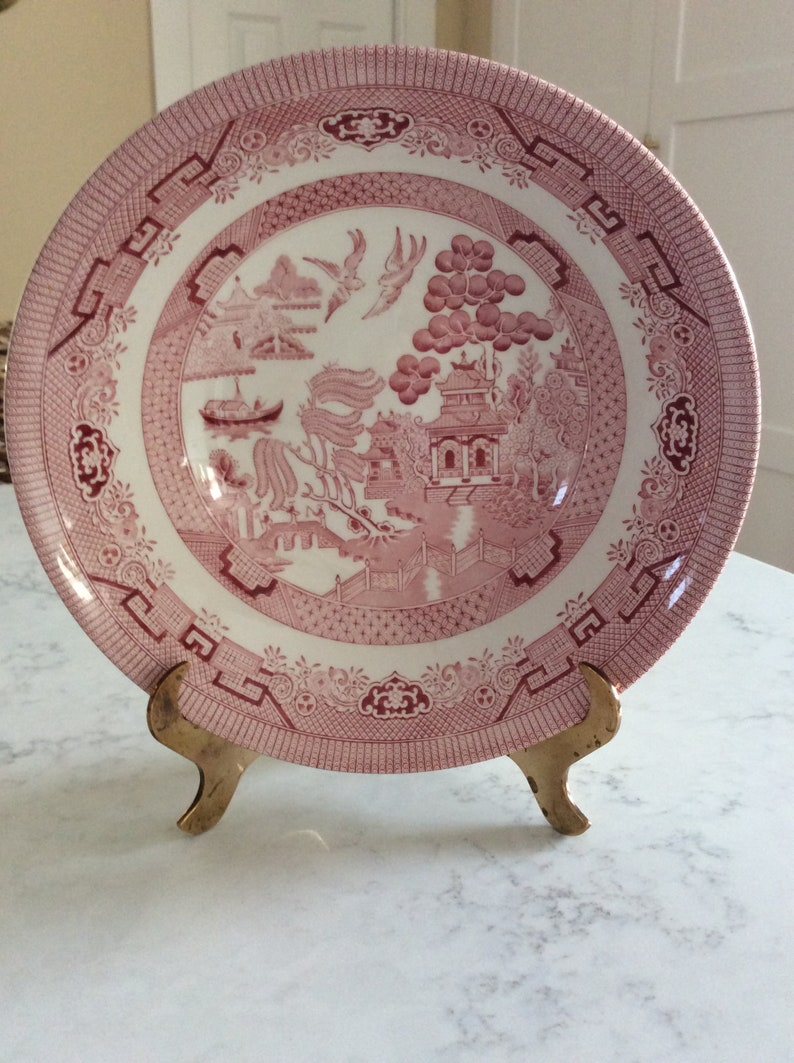 Pagoda Vintage Pink Willow Pink Rosa Chinoiserie Large Bowl Transferware Churchill England 9.5\u201d Serving Bowl French Country