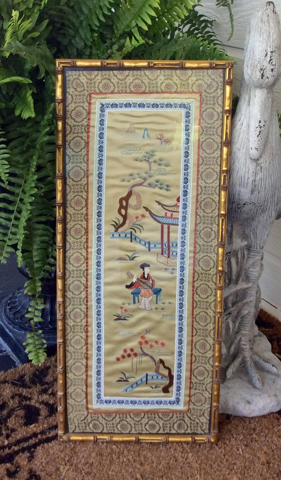 Sale Vintage Chinese Embroidered Silk Art Gold Bamboo Frame Etsy