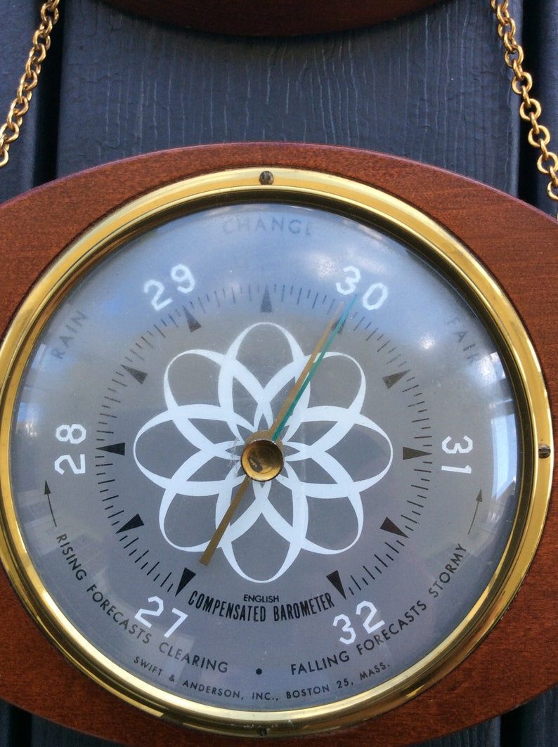 Barometer Vintage Swift /& Anderson Weather Instrument Atomic Nautical Hygrometer Thermometer Mid Century Cottage