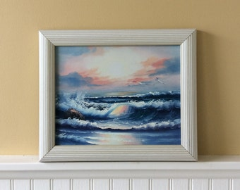 Vintage Ocean Waterscape Oil Painting, Framed Painting, Artist Signed, Sunset/Sunrise, Beach Painting, Seagulls, Coastal, Cottage, Tropical