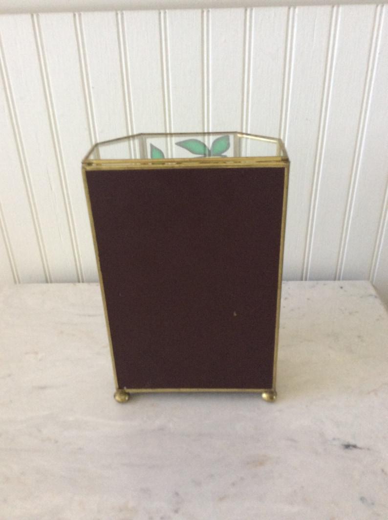 Miniature Storage Vintage Glass /& Brass Curio Keepsake Box Beach Tropical Parrots Jewelry Box Footed Jewelry Box Stained Glass