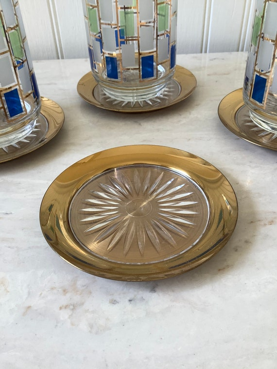 Vintage Set Of 4 Brass Coasters W/ Clear/Plastic Center, ( Thorne Thomson, Tyrone, N.C. ) Mcm Coasters, Barware Coasters, Hollywood Regency by Etsy