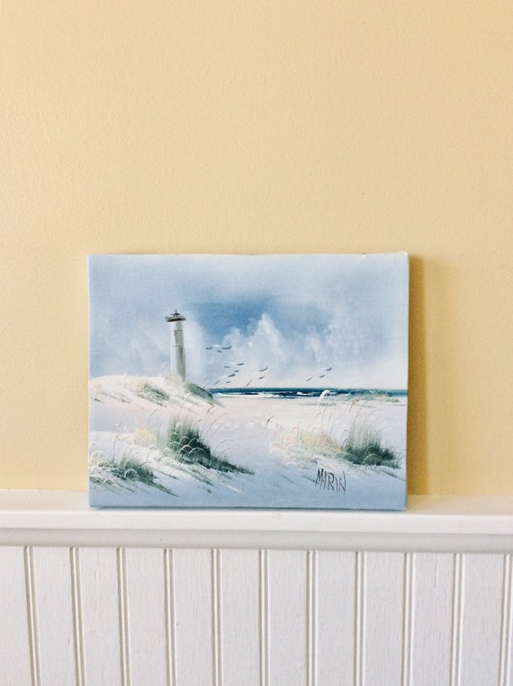 "Vintage Ocean & Lighthouse Painting on Canvas, Signed Painting ""Marin"", 8""  x 10"" Seascape Painting, Coastal, Cottage, Beach Decor"
