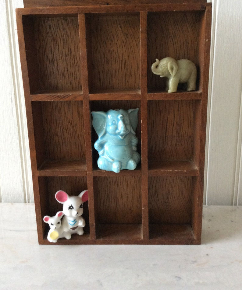 Vintage Miniatures, Blue Elephant, Stone Elephant, Mouse/Mice, SOLD  SEPARATELY, Nursery Decor, Collectibles, Shadow Box/Printers Drawer