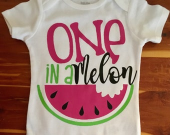 f94ee8669 One in a Melon Bodysuit Or T-shirt - birthday - girl - watermelon