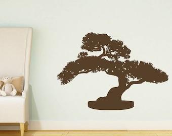 Kanji Bonsai WALL Wall Vinyl Decal Zen Garden Bonsai Tree BLACK 22w x 34h