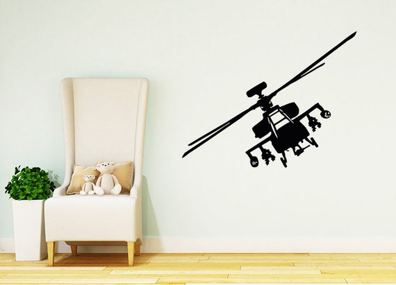 Helicopter Wall Decals Plane Decal Nursery Vinyl Stickers Boy | Etsy
