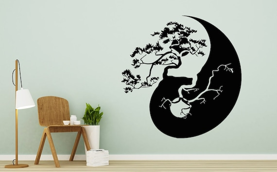 Asian Art Wall Stickers Tall Bonsai Tree Wall Decal