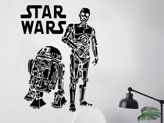 Star Wars R2d2 Ilustraciones calcomanía extraíble etiqueta de la pared Decoración del Hogar Arte Envío Gratis