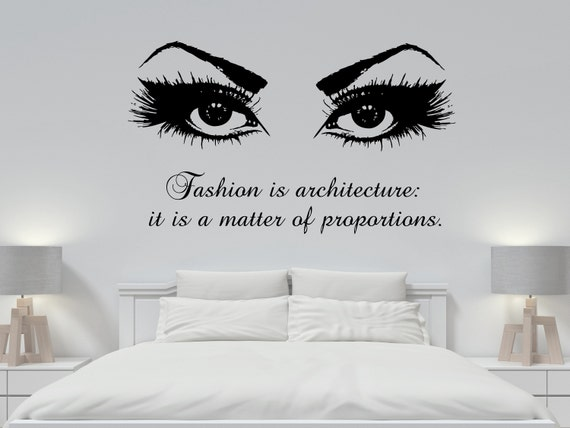 Quote Wall Decals Beauty Salon Eyes Eyelashes Vinyl Sticker Decal Girls Room Decor Home Art Mural Hairdressing MS392