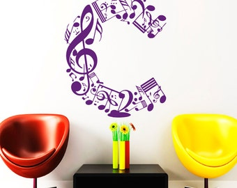 Personalized Music Letter Wall Decals Music Notes Decal Vinyl Sticker Home  Decor Bedroom Window Decals Chu971