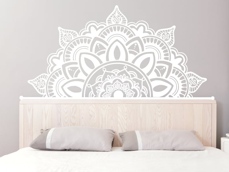 half mandala wall decals headboard vinyl sticker art boho   etsy