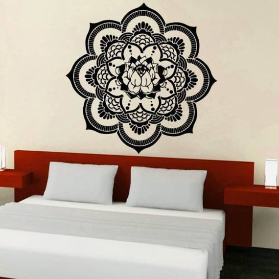 Mandala Wall Decal Yoga Vinyl Sticker Decal Namaste Lotus Home Decor Boho ZX51