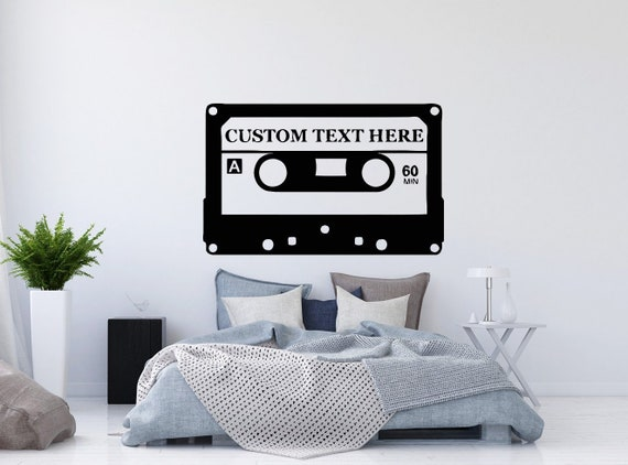 music wall decals custom text decal old audio cassette vinyl | etsy