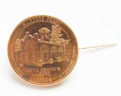 America the Beautiful Quarter from West Virginia featuring Harpers Ferry, 24 kt Gold Plated mounted as a Brooch or Hat