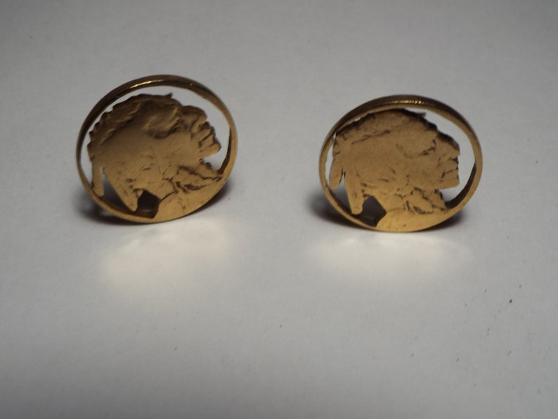 Hand Cut Indian Head Nickel made into Clipon earrings 24 kt Gold Plated