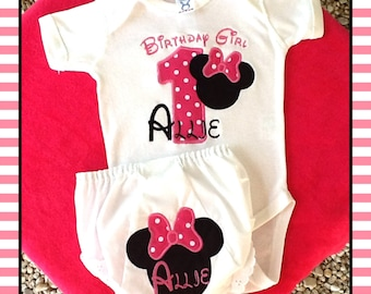 Minnie Mouse Birthday Onsie with matching Bloomers