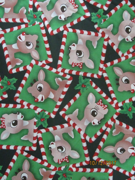d3aa01b77c Rudolph the Red Nose Reindeer Christmas Cotton Fabric BTY RARE