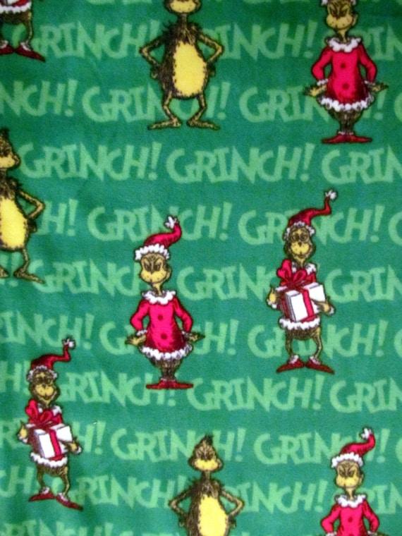 Christmas Fleece.The Grinch Santa Christmas Fleece Fabric Bty Rare
