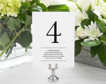 INSTANT DOWNLOAD Bible Verse Printable Table Numbers (Numbers 1-20) - Features Bible Verses about Love