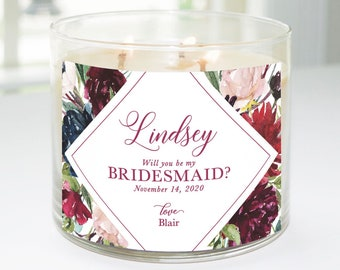 Will You Be My Bridesmaid? Custom Candle Label (Mulberry Floral) - Bridesmaid Proposal, Maid of Honor, Matron of Honor