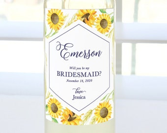 Will You Be My Bridesmaid? Custom Proposal Wine Label (Navy & Sunflowers) - Bridesmaid Proposal, Maid of Honor, Matron of Honor